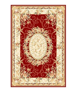 Lyndhurst Collection Aubussons Red/ Ivory Rug (8' x 11')