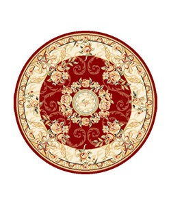 Lyndhurst Collection Aubussons Red/ Ivory Rug (8 ft. Round)