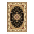 Lyndhurst Collection Traditional Black/ Ivory Rug (4 x 6)