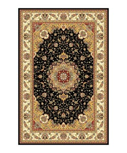 Lyndhurst Collection Traditional Black/ Ivory Rug (5'3 x 7'6)
