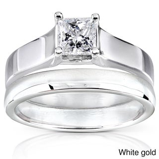 Annello 14k Gold 1/2 ct TDW Diamond Bridal Ring Set