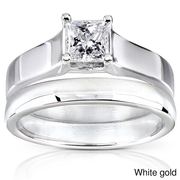Annello 14k Gold 1/2 ct TDW Diamond Bridal Ring Set