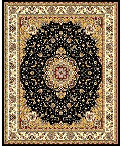 Lyndhurst Collection Traditional Black/ Ivory Rug (8' x 11')