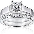 Annello 14k White Gold 5/8ct TDW Princess and Round Diamond