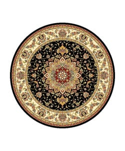 Lyndhurst Collection Traditional Black/ Ivory Rug (8' Round)