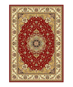 "Lyndhurst Collection Traditional Red/Ivory Rug (5'3"" x 7'6"")"