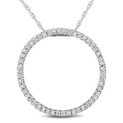 Miadora 10k White Gold 1/4ct TDW Diamond Circle Necklace (I-J, I2-I3)