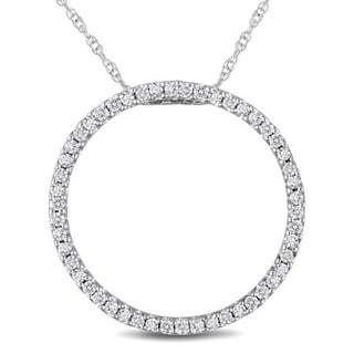 Miadora 10k White Gold 1/4ct TDW Diamond Circle Necklace (I-J, I2-I3)