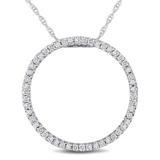 Haylee Jewels 10k White Gold 1/4ct TDW Diamond Circle Necklace (I-J, I2-I3)