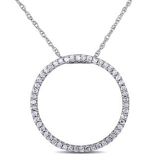 Haylee Jewels 10k White Gold 1/4ct TDW Diamond Circle Necklace (I-J, I2-I3)