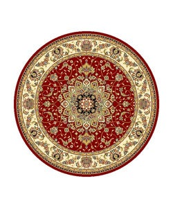 Lyndhurst Collection Red/ Ivory Oriental Rug (8' Round)