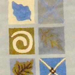 Indian Hand-tufted Leaf Print Rug (2'7 x 4'2)