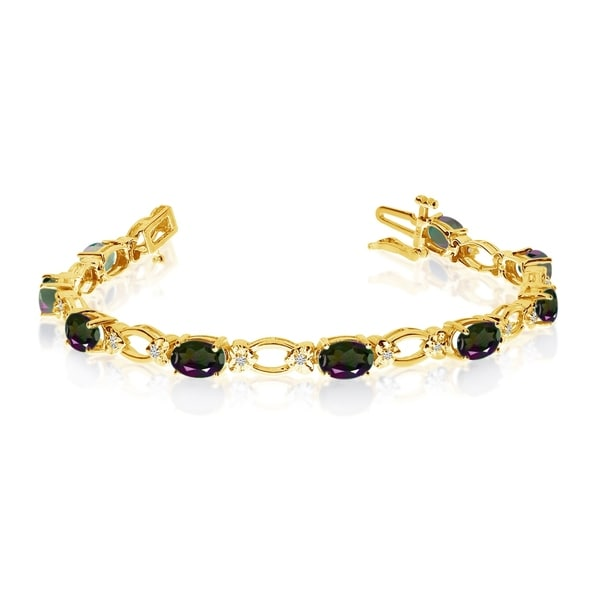 14k Yellow Gold Natural Mystic-Topaz And Diamond Tennis Bracelet 36547014