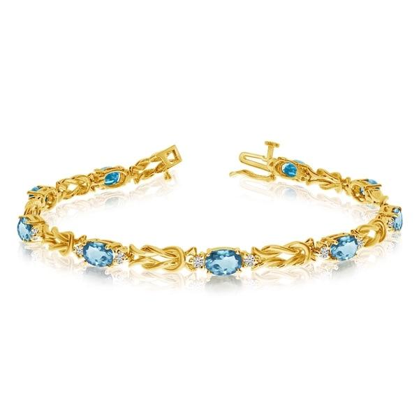 14k Yellow Gold Natural Aquamarine And Diamond Tennis Bracelet 36547030