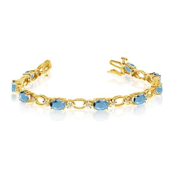 14k Yellow Gold Natural Aquamarine And Diamond Tennis Bracelet 36547035