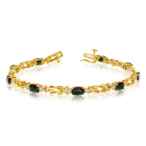 14k Yellow Gold Natural Mystic-Topaz And Diamond Tennis Bracelet 36547040