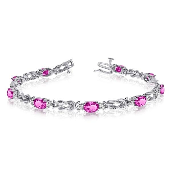 14k White Gold Natural Mystic-Topaz And Diamond Tennis Bracelet 36547051