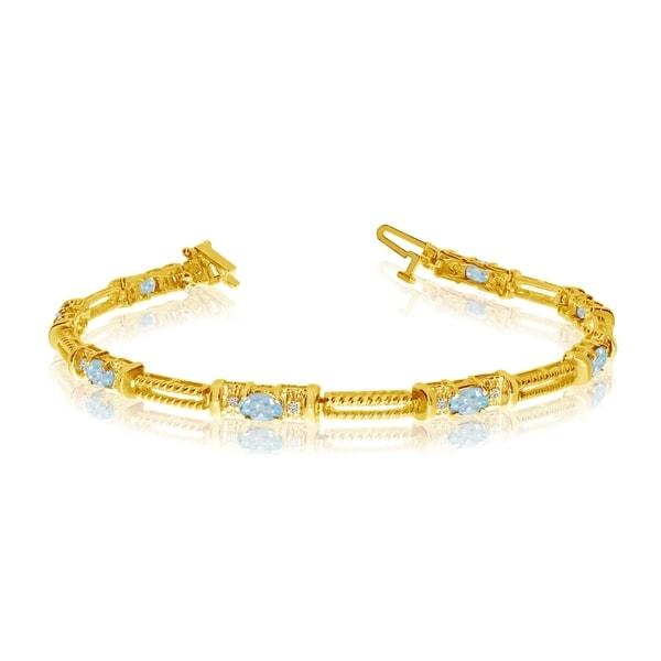 10k Yellow Gold Natural Aquamarine And Diamond Tennis Bracelet 36547062