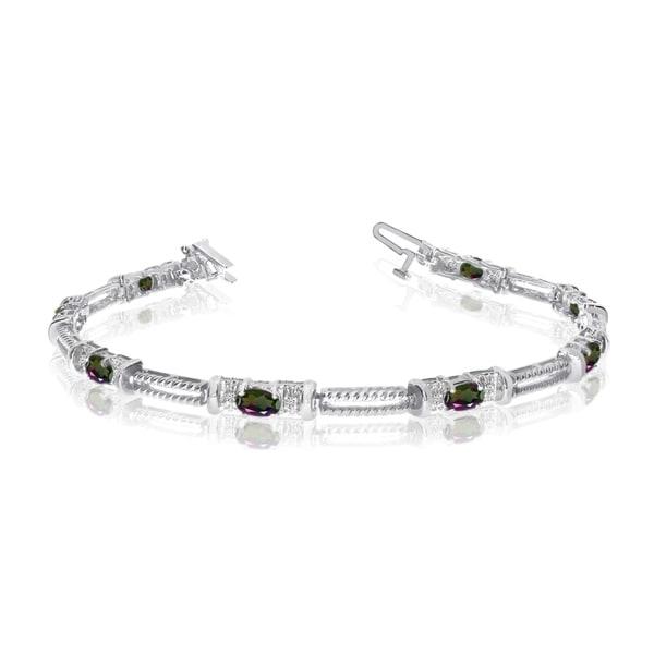 14k White Gold Natural Mystic-Topaz And Diamond Tennis Bracelet 36547082