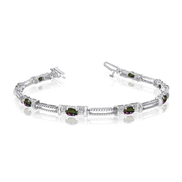 10k White Gold Natural Mystic-Topaz And Diamond Tennis Bracelet 36547085