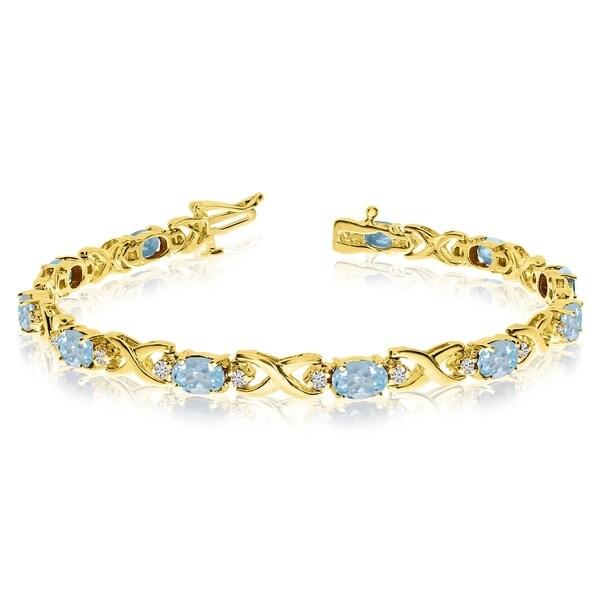 14k Yellow Gold Natural Aquamarine And Diamond Tennis Bracelet 36547102