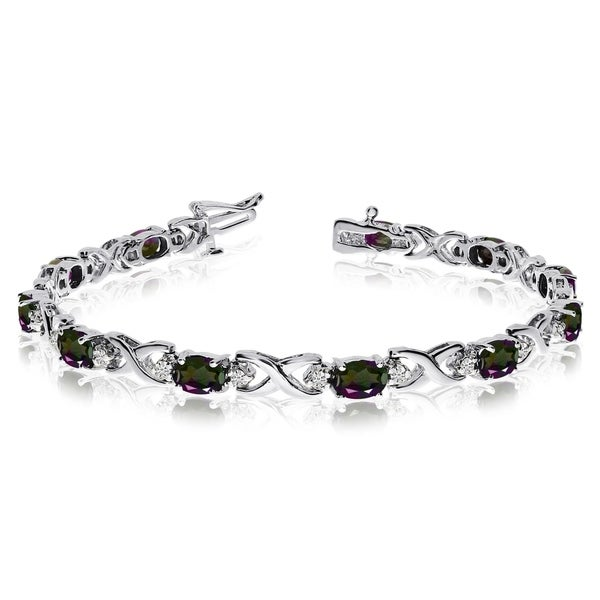 14k White Gold Natural Mystic-Topaz And Diamond Tennis Bracelet 36547178