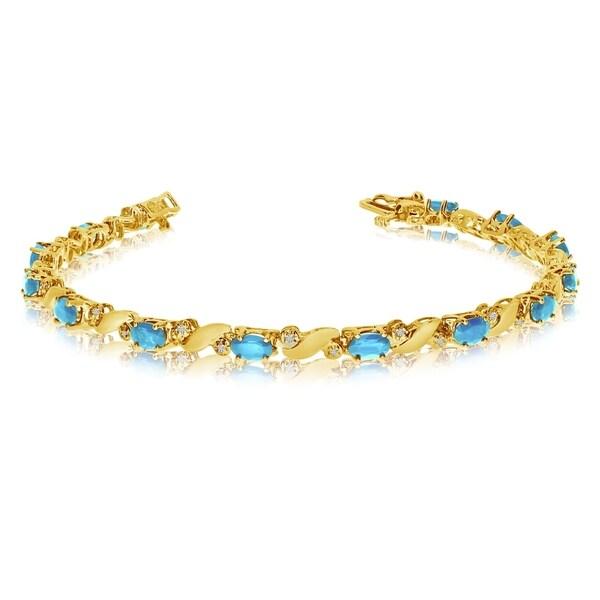 14k Yellow Gold Natural Aquamarine And Diamond Tennis Bracelet 36547180