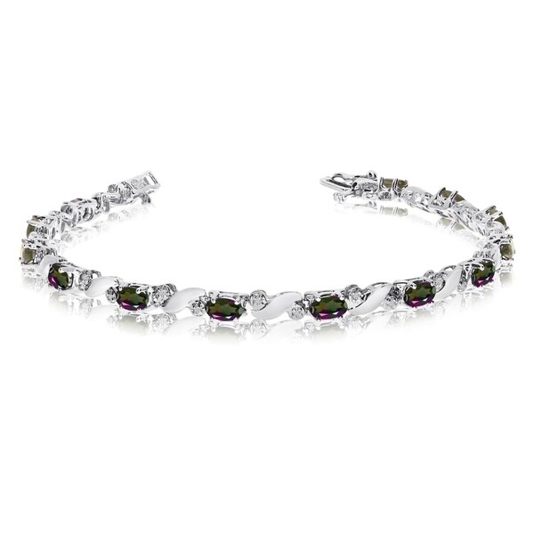 14k White Gold Natural Mystic-Topaz And Diamond Tennis Bracelet 36547226