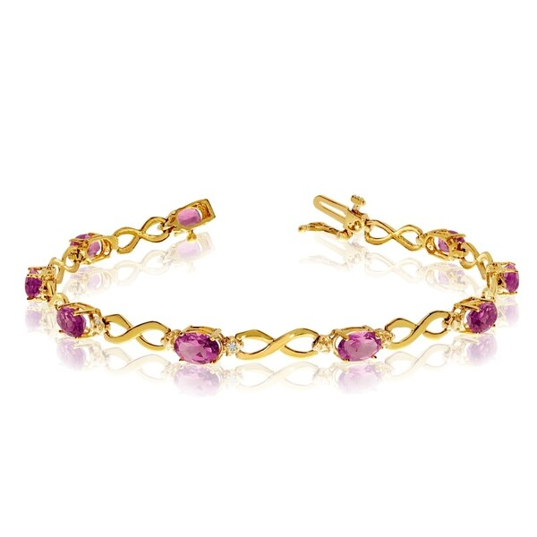 14K Yellow Gold Oval Pink Topaz and Diamond Bracelet 36547250