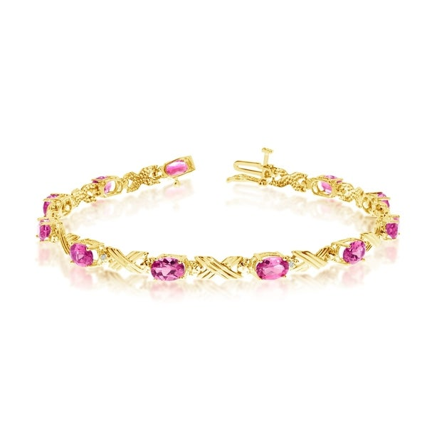 14K Yellow Gold Oval Pink Topaz and Diamond Bracelet 36547299