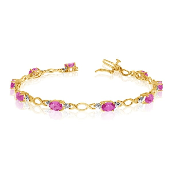 14K Yellow Gold Oval Pink Topaz and Diamond Bracelet 36547345