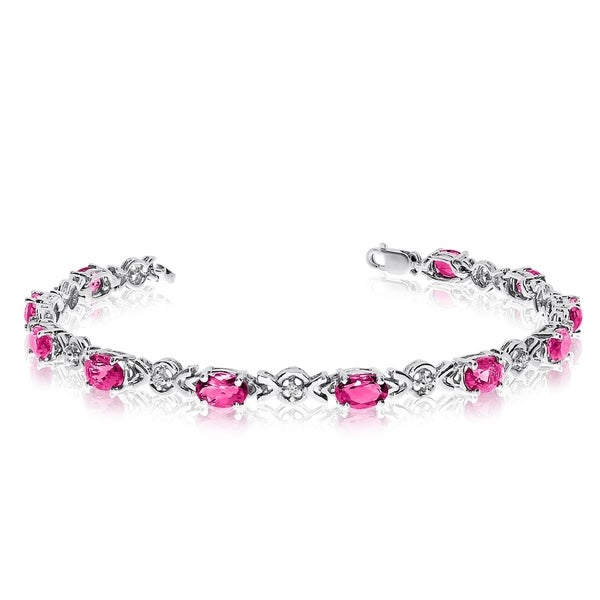 14K White Gold Oval Pink Topaz and Diamond Bracelet 36547364