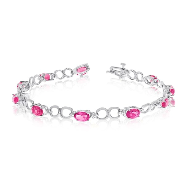 14K White Gold Oval Pink Topaz and Diamond Bracelet 36547381