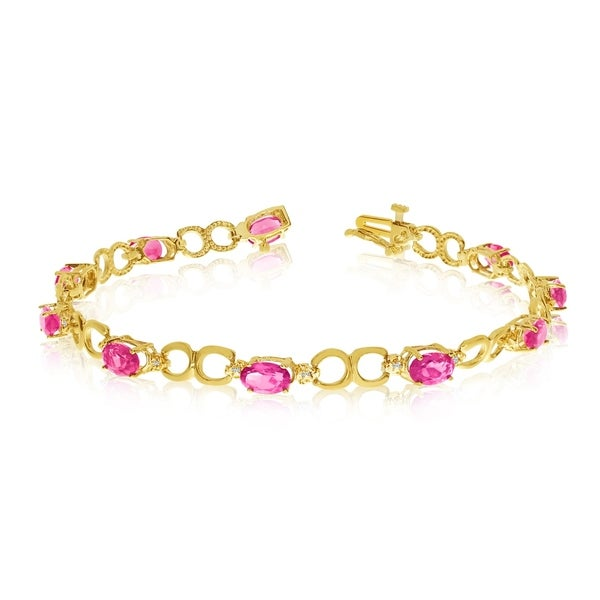 14K Yellow Gold Oval Pink Topaz and Diamond Bracelet 36547382