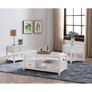 White Finish Wood 3 Pack Coffee Table Set