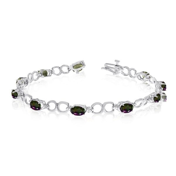 14K White Gold Oval Mystic Topaz and Diamond Bracelet 36557320
