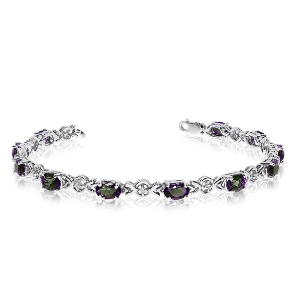 10K White Gold Oval Mystic Topaz and Diamond Bracelet 36557407