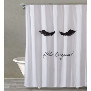 "Style Quarters LASH OUT LOUD Shower curtain-Black Lashes and Script 'Hello Gorgeous' on White Ground Polyester - 1pc 72""W x 72""L"