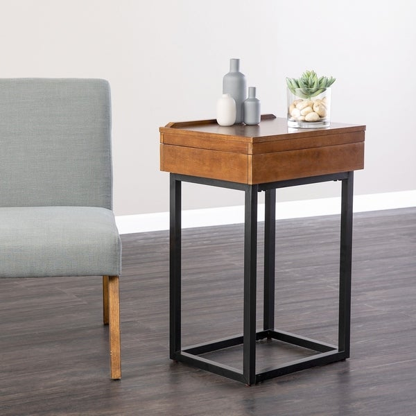 Holly & Martin Cayson Dark Tobacco Storage Lift-Top Side Table 36581055