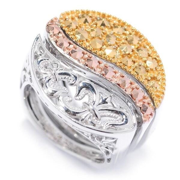 Dallas Prince Palladium Silver Marcasite 3-Piece Set Stackable Ring 36581128