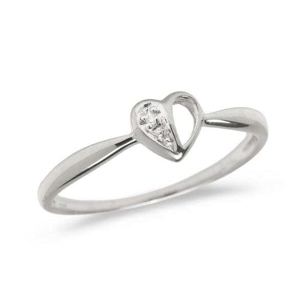 14K White Gold Diamond Heart Ring Ring by Lucia Costin