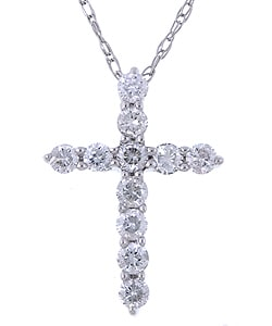 14k White Gold 1/4 ct Diamond Cross Necklace (G-H, I2)