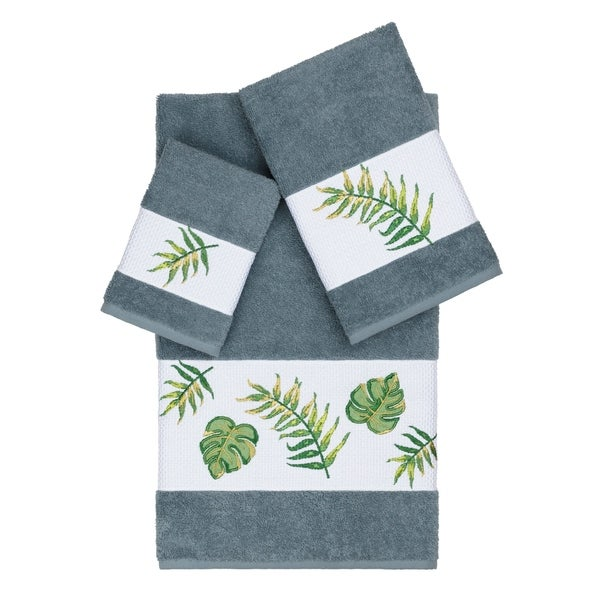 Authentic Hotel and Spa Turkish Cotton Palm Fronds Embroidered Teal Blue 3-piece Towel Set 36642331