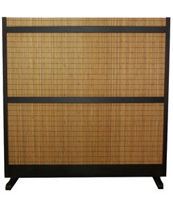 Beige Wood and Bamboo Take Free-standing Room Divider Screen (China)