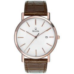 Bulova Men's 98H51 Brown Leather Quartz Watch with White Dial