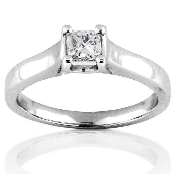 Annello 14k Gold 1/3ct TDW Princess Diamond Solitaire Ring (H-I, SI1-SI2)