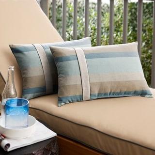 Sunbrella Blue Taupe Stripe with Silver Grey Indoor/ Outdoor Lumbar Pillow, Set of 2