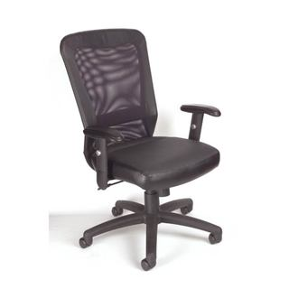 Boss Black Polyurethane Mesh Pneumatic Back Support Office Chair