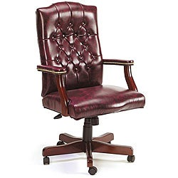 Traditional Executive Swivel Chair in Oxblood Vinyl