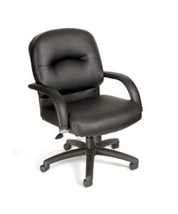 Boss Black Vinyl Mid-back Executive Chair